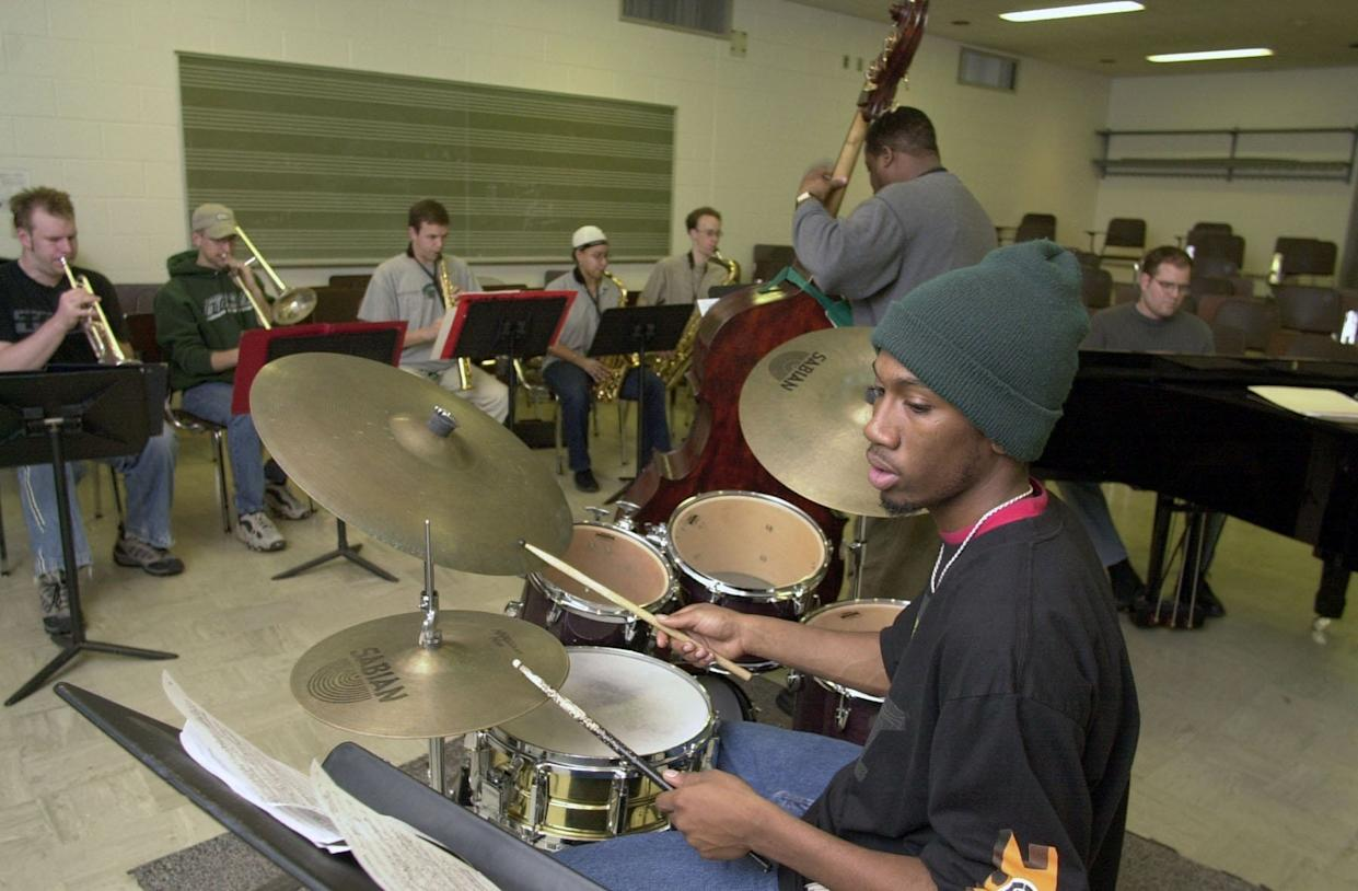 Drummer Lawrence Leathers, a Lansing native, is seen here in 2001 practicing with the MSU Jazz Band II at Michigan State University. The 37-year-old was found dead in New York City.