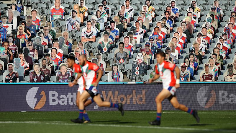 A cardboard cutout crowd, pictured here during the New Zealand Warriors clash with St George Illawarra Dragons.