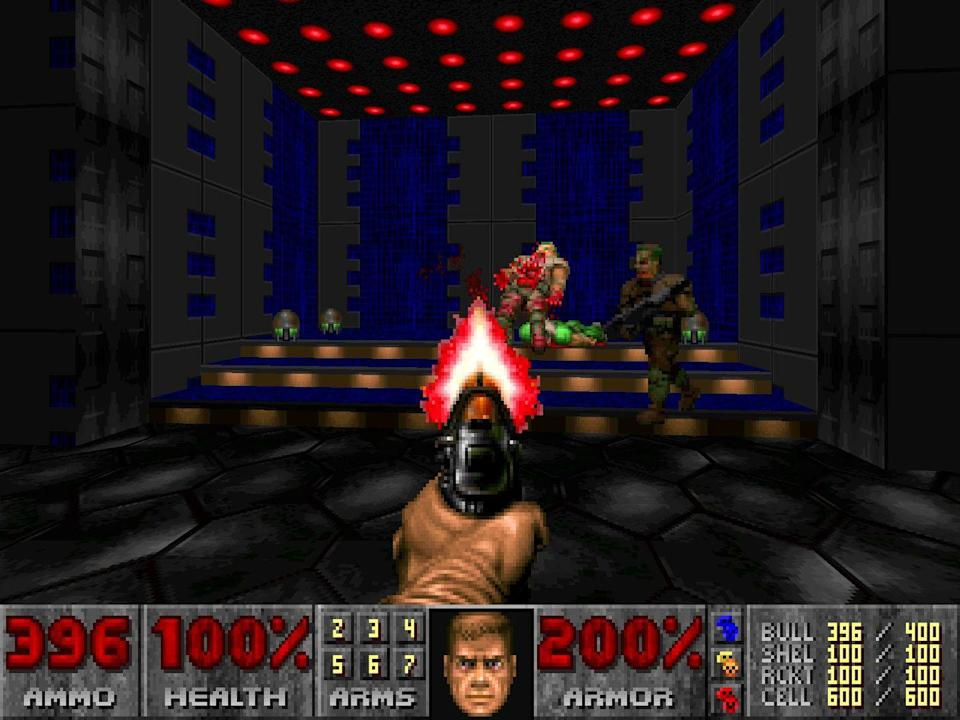 <p>It's an understatement to say <em>Doom</em> changed the game; <em>Doom </em>created it. There were plenty of first-person shooters before <em>Doom</em>—including id Software's own <em>Wolfenstein 3D—</em>but it was<em> Doom</em> that wildly popularized the first-person shooter genre that would go on to dominate gaming for years and years. The tissue-paper thin plot involves playing as a space marine on Mars fighting off demons, but the real gameplay was simple: Kill everything in front of you, and then spend 10 minutes trying to find that blue or green key you forgot to grab somewhere. </p>