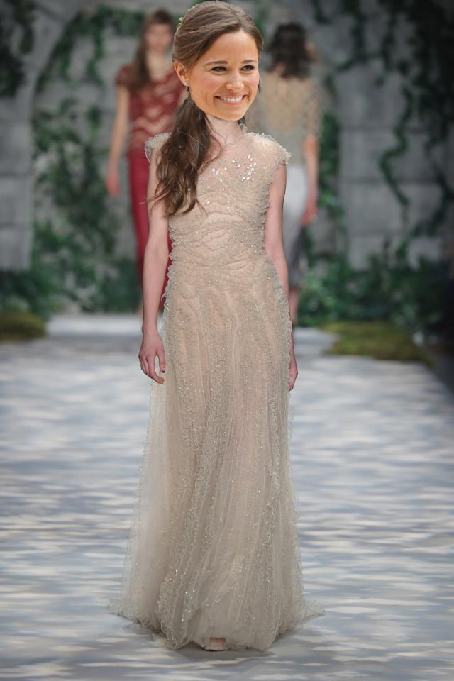 <p>Jenny Packham is a real royal favourite with Pippa's sister, the Duchess of Cambridge, choosing her gowns for high-profile occasions. Full of glitz and glamour as well as the odd simpler style, Packham's designs are elegant above all.<br /><i>[Photo: Getty]</i> </p>