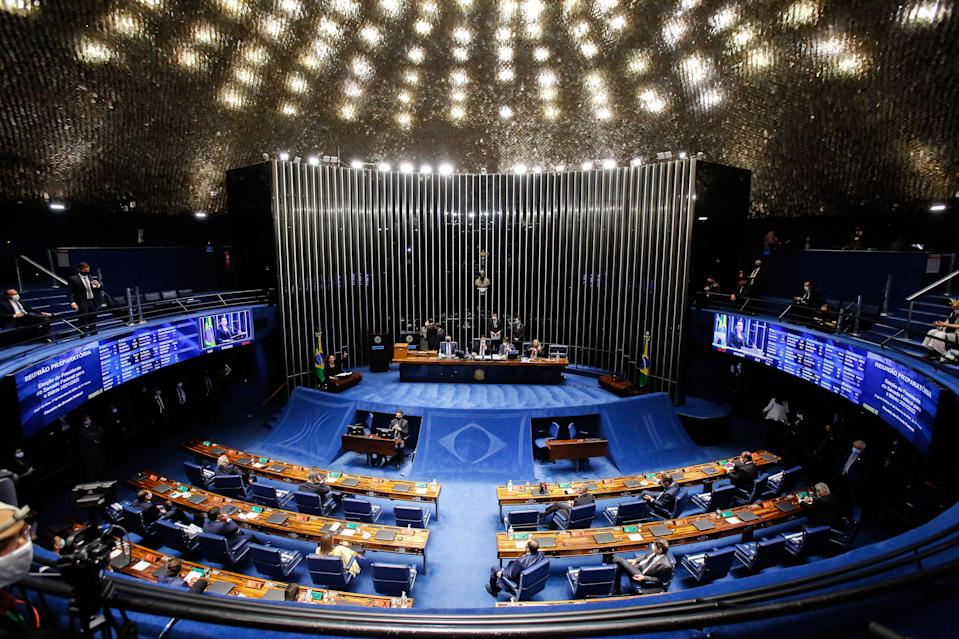 General view of the Brazilian Senate taken during the senate session to elect the president of the Senate, in Brasilia, on February 1, 2021. - Congress votes in head of house and senators in elections deemed crucial to determine Brazilian president Jair Bolsonaro's reach in upcoming years. (Photo by Sergio LIMA / AFP) (Photo by SERGIO LIMA/AFP via Getty Images)