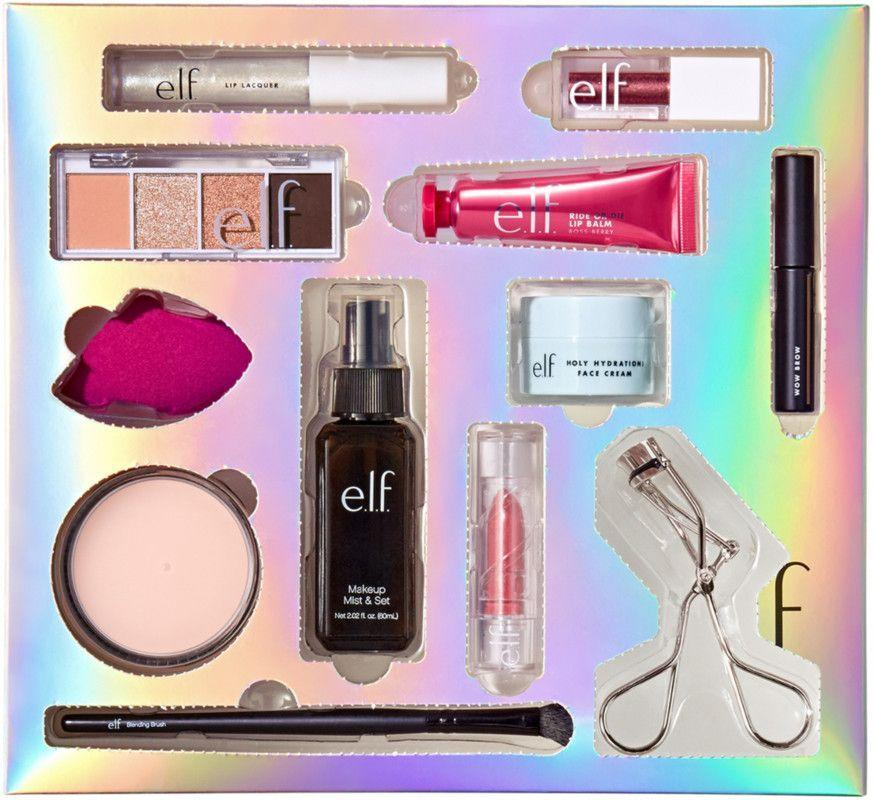 """<p><strong>e.l.f. Cosmetics</strong></p><p>ulta.com</p><p><strong>$100.00</strong></p><p><a href=""""https://go.redirectingat.com?id=74968X1596630&url=https%3A%2F%2Fwww.ulta.com%2F12-day-advent-calendar%3FproductId%3Dpimprod2019783&sref=https%3A%2F%2Fwww.townandcountrymag.com%2Fstyle%2Fbeauty-products%2Fnews%2Fg2919%2Fbeauty-advent-calendars%2F"""" rel=""""nofollow noopener"""" target=""""_blank"""" data-ylk=""""slk:Shop Now"""" class=""""link rapid-noclick-resp"""">Shop Now</a></p><p><strong>Best For: </strong>Your niece who's just starting her makeup journey. </p><p><strong>What's Inside: </strong>12 pieces to create her perfect everyday makeup kit including face cream, primer, brow gel, eyeshadow, lipstick, and an eyelash curler. </p>"""