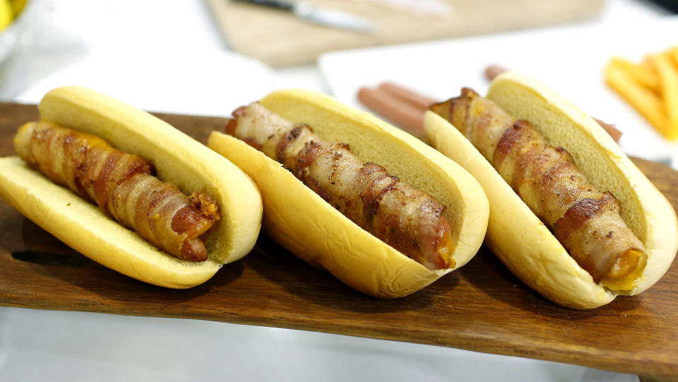 Spiral-cut hot dogs, braided hot dogs, and cheesy bacon-wrapped hot dogs (Samantha Okazaki / TODAY)