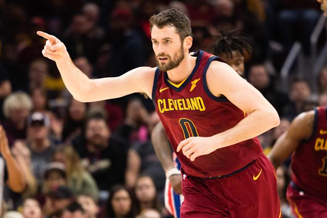 CLEVELAND, OH – JANUARY 28: Kevin Love #0 of the Cleveland Cavaliers celebrates after scoring during the first half against the Detroit Pistons at Quicken Loans Arena on January 28, 2018 in Cleveland, Ohio. (Photo by Jason Miller/Getty Images)