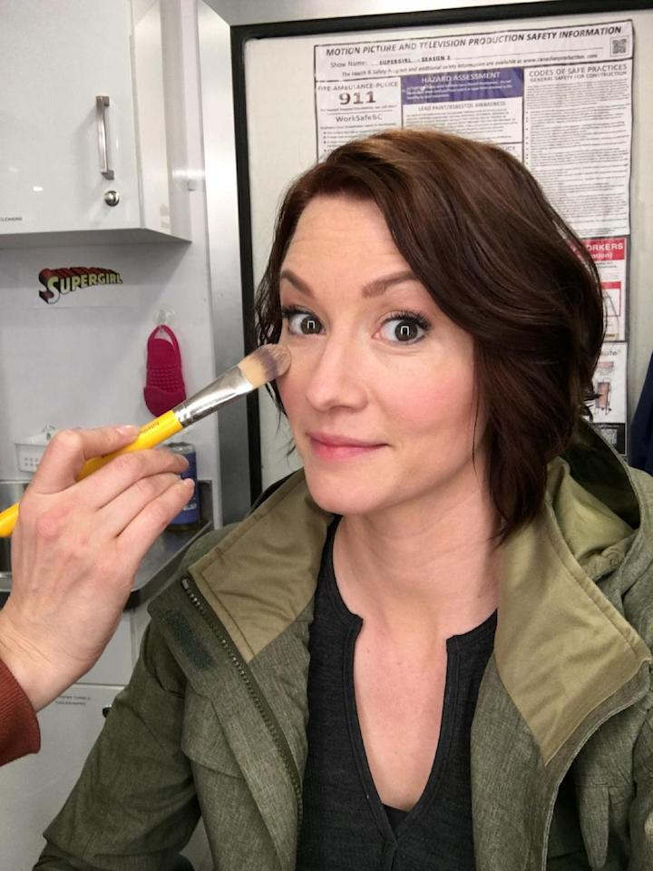 <p>Makeup time! Never can truly erase those under eyes <br /><br />(Credit: Instagram) </p>