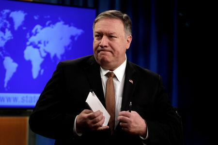 FILE PHOTO: U.S. Secretary of State Mike Pompeo leaves after a briefing on Iran at the State Department in Washington, U.S., April 8, 2019. REUTERS/Yuri Gripas/File Photo