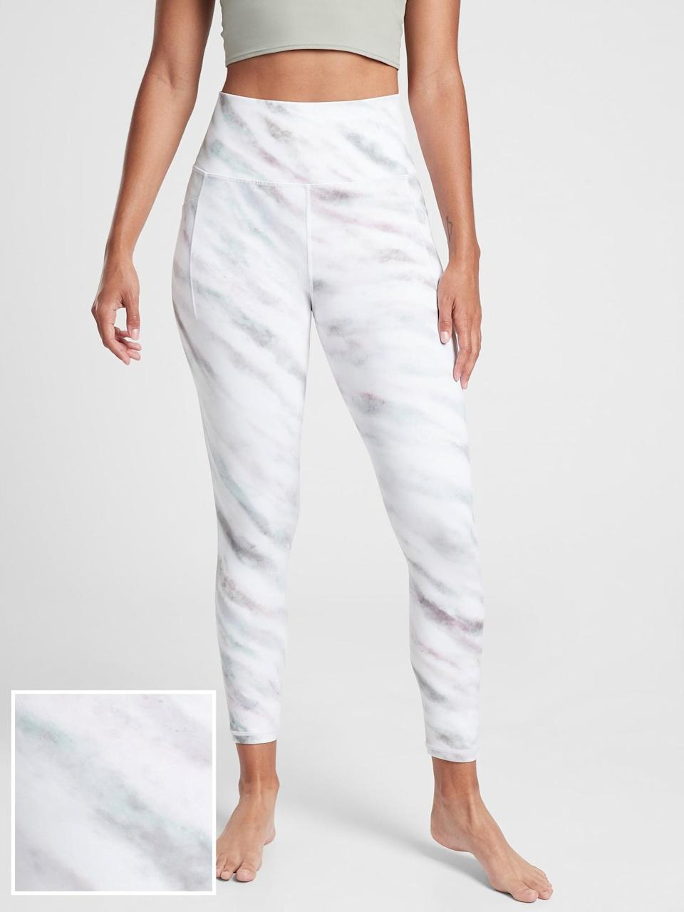 <p>The <span>Athleta Salutation Stash Pocket II Printed 7/8 Tight</span> ($75, originally $98) comes with supportive compression, making it great for yoga.</p>