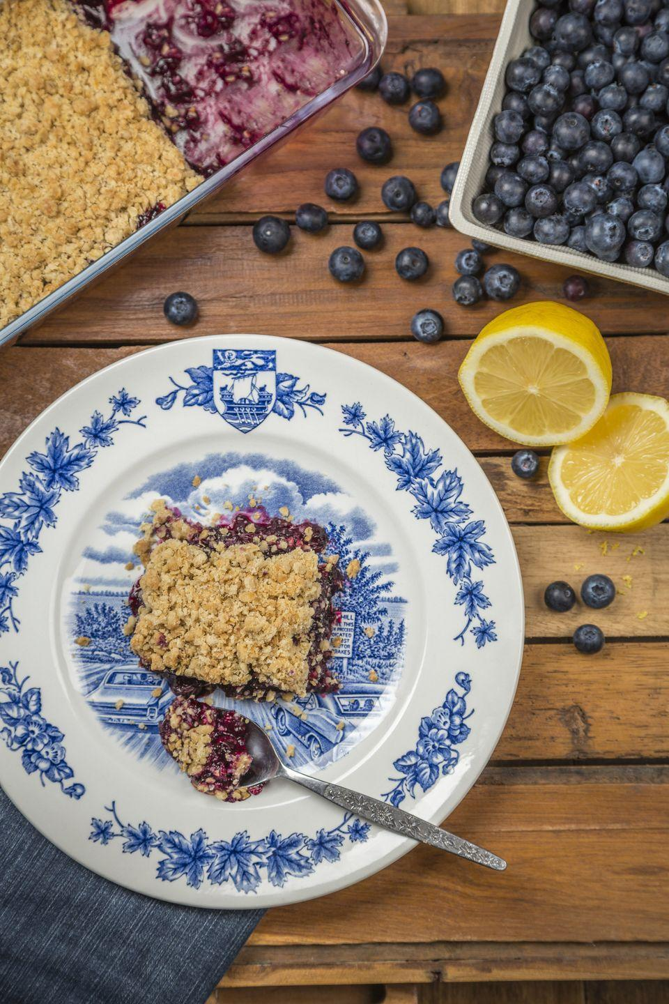 """<p>Strawberry-based cakes tend to get all the love on the 4th of July, but this blueberry crumb cake is just as tasty. Add some strawberry or raspberry ice cream on top for that red, white, and blue feel.</p><p><em><strong>Get the recipe at <a href=""""https://www.thepioneerwoman.com/food-cooking/recipes/a9900/blueberry-crumb-cake/"""" rel=""""nofollow noopener"""" target=""""_blank"""" data-ylk=""""slk:The Pioneer Woman."""" class=""""link rapid-noclick-resp"""">The Pioneer Woman.</a></strong></em></p>"""