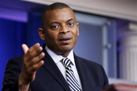 U.S. Transportation Secretary Foxx addresses reporters during daily press briefing at White House in Washington