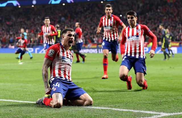 Atletico Madrid's Jose Gimenez (front left) celebrates after scoring his side's first goal against Juventus in the Champions League on Wednesday. (Getty)