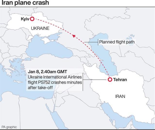 Iran plane crash graphic