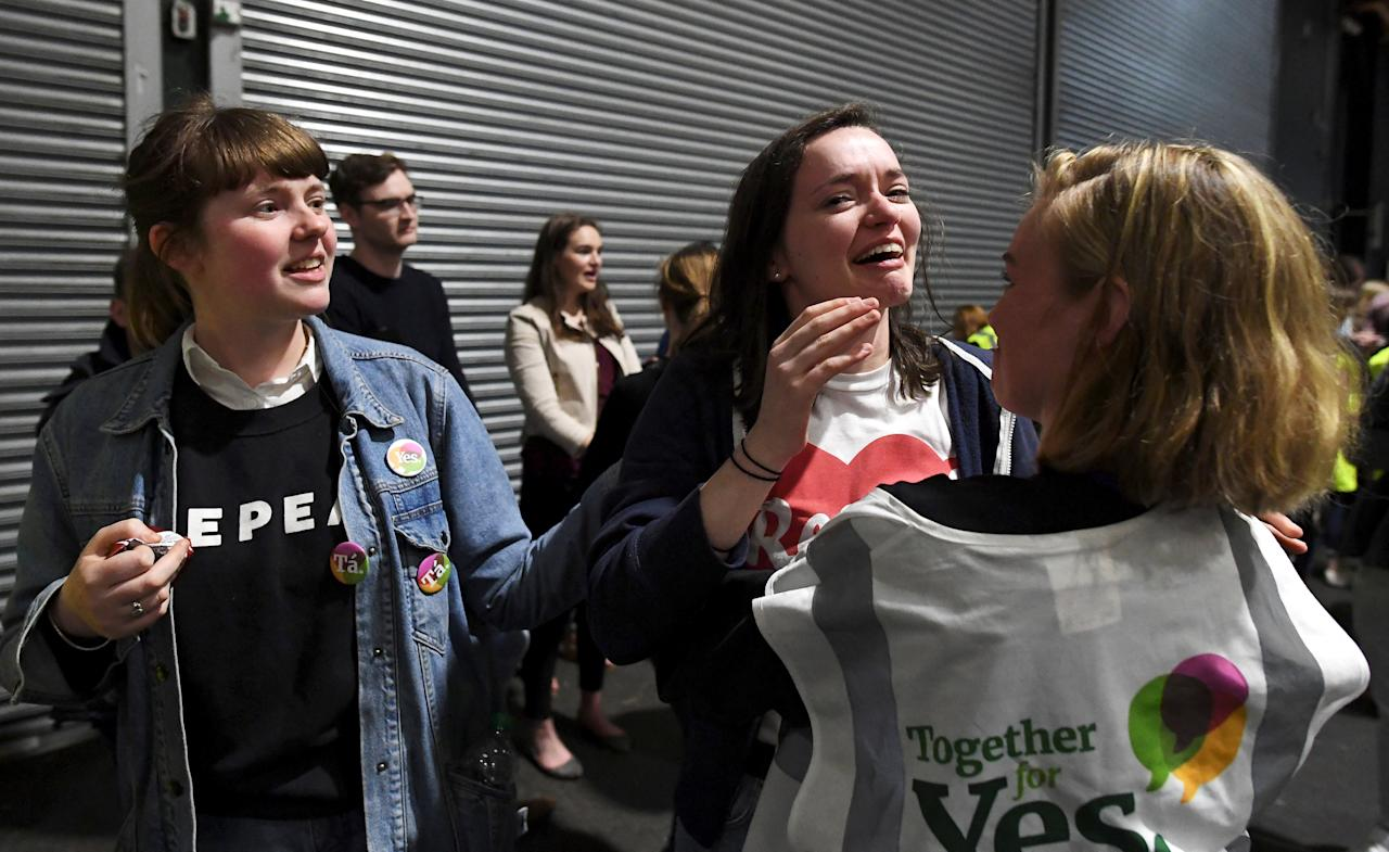 REFILE - ADDING DROPPED LETTER   Activists react at the count centre as votes are tallied following yesterday's referendum on liberalizing abortion law, in Dublin, Ireland, May 26, 2018. REUTERS/Clodagh Kilcoyne