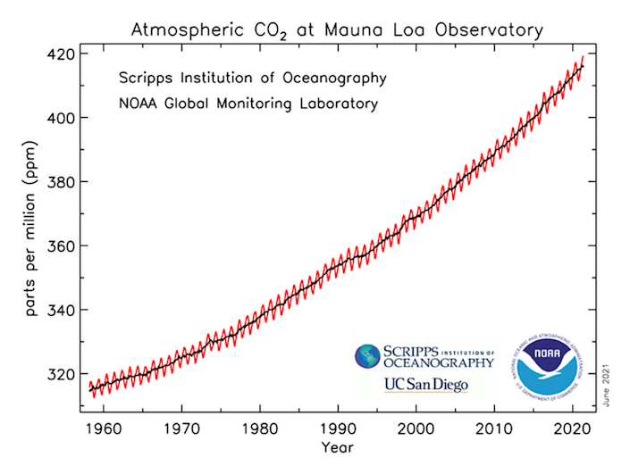 This graph depicts the upward trajectory of carbon dioxide in the atmosphere as measured at the Mauna Loa Atmospheric Baseline Observatory by NOAA and the Scripps Institution of Oceanography. The annual fluctuation is known as the Keeling Curve.