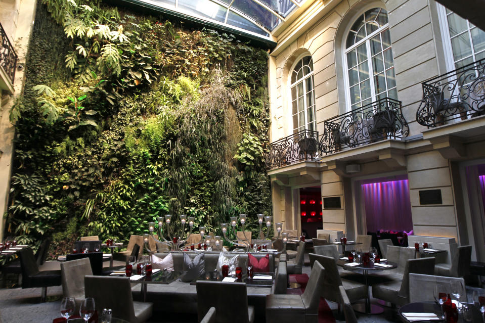 View of the 30-meter vertical garden (Vegetal Wall) in the courtyard of the Pershing Hall hotel in the 8th district of Paris designed by French Botanist Patrick Blanc March 10, 2010.  REUTERS/Charles Platiau   (FRANCE - Tags: ENVIRONMENT TRAVEL)