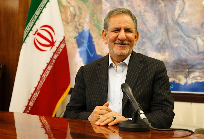 Iranian vice-president and candidate in Iran's upcoming presidential elections Eshaq Jahangiri gives an interview to AFP in Tehran on May 9, 2017 (AFP Photo/ATTA KENARE)