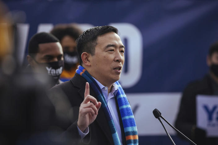 Andrew Yang announces his run for New York Mayor during a news conference in Morningside Park on Thursday, Jan. 14, 2021, in New York. (AP Photo/Kevin Hagen).