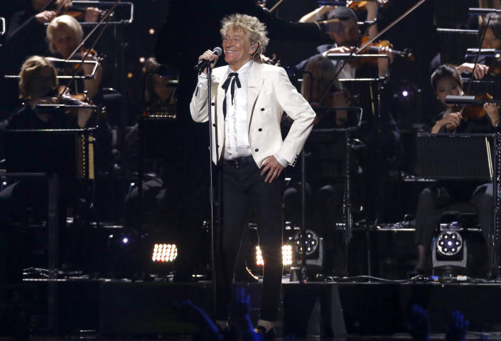 FILE - Rod Stewart performs on stage at the Brit Awards in London, Tuesday, Feb. 18, 2020. Stewart turns 76 on Jan. 10. (Photo by Joel C Ryan/Invision/AP, File)