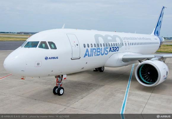 An Airbus A320neo jet parked on the tarmac