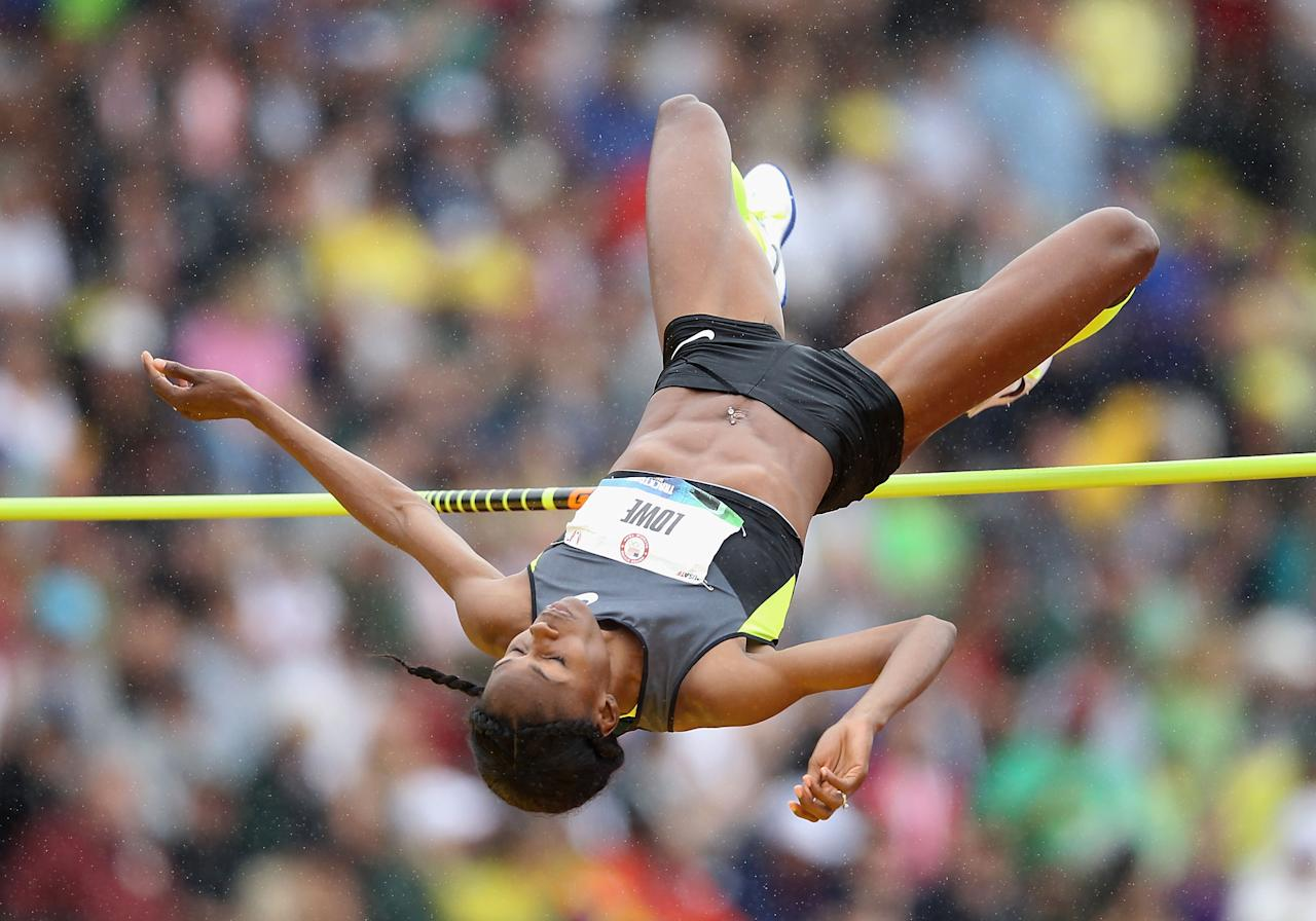 EUGENE, OR - JUNE 30:  Chaunte Lowe competes in the Women's High Jump Final on day nine of the U.S. Olympic Track & Field Team Trials at the Hayward Field on June 30, 2012 in Eugene, Oregon.  (Photo by Christian Petersen/Getty Images)