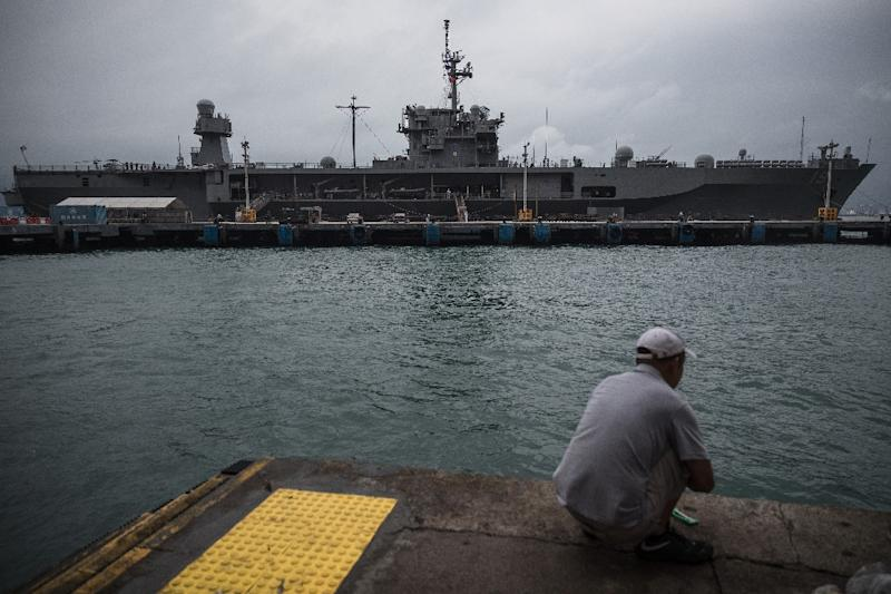 """The USS Blue Ridge during a call in Hong Kong on April 20, 2019. The 7th Fleet flagship is leading """"Operation Vanguard"""" near Guam"""