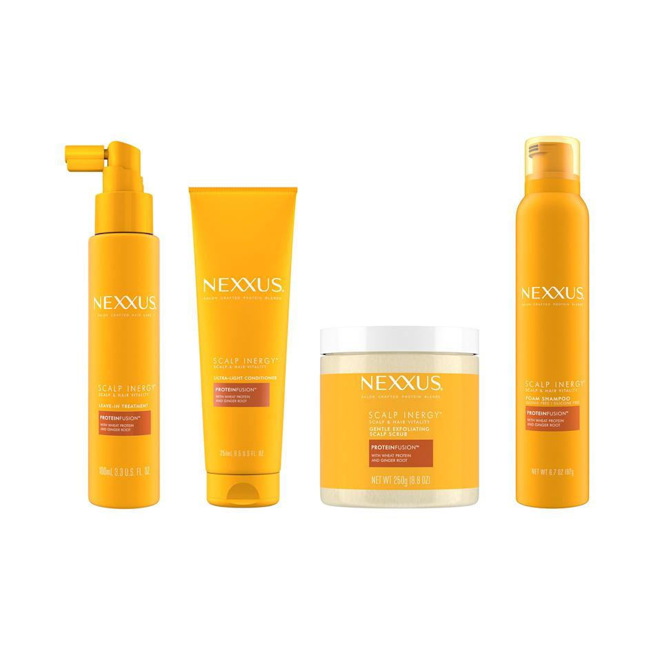 """The <a href=""""allure.com/story/hair-care-trends-2020"""">scalp is taking center stage</a> in the hair-care market, and Nexxus is driving the point home. The brand is launching its first scalp-care range, and yes, it's worth adding the extra steps to your hair-care routine. The Nexxus Scalp Inergy line comes with a Gentle Exfoliating Scalp Scrub, Leave-In Treatment, In-Shower Foam Shampoo, and Ultra-Light Conditioner. Think of it as a starter pack for getting your scalp right in the new year.<br> <br> <strong>$13 to $18</strong> (<a href=""""https://shop-links.co/1693408080193606237"""" rel=""""nofollow"""">Shop Now</a>)"""