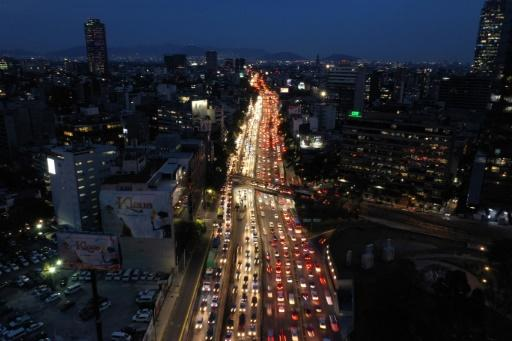 Aerial view of rush hour in Mexico City on November 20, 2019