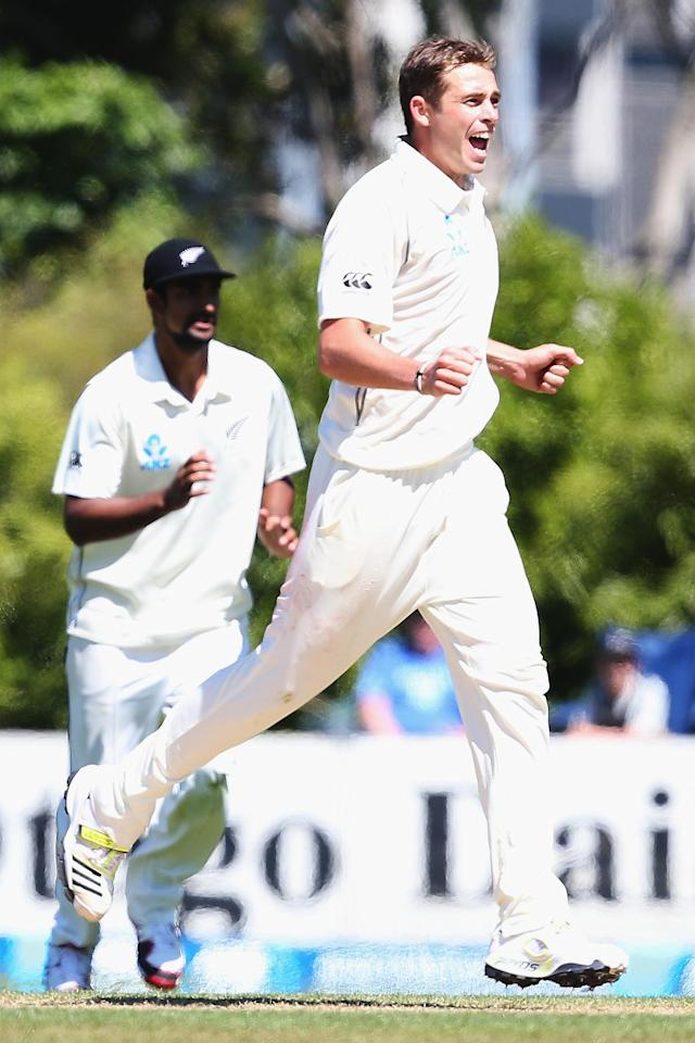 DUNEDIN, NEW ZEALAND - DECEMBER 05: Tim Southee of New Zealand celebrates the wicket of Narsingh Deonarine of the West Indies during day three of the first test match between New Zealand and the West Indies at University Oval on December 5, 2013 in Dunedin, New Zealand. (Photo by Hannah Johnston/Getty Images)