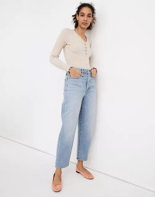 <p>If you need us, we'll be in these comfortable, easy to style <span>Madewell Balloon Jeans</span> ($128).</p>