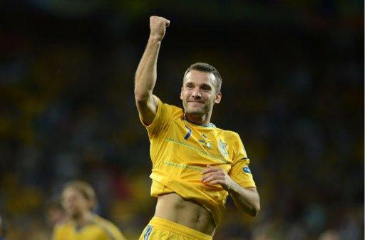 Ukrainian forward Andrei Shevchenko celebrates at the end of the Euro 2012 championships football match Ukraine vs Sweden on June 11, 2012 at the Olympic Stadium in Kiev. Ukrain won 2 to 1