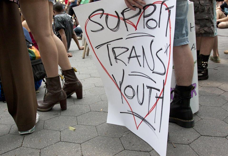 Sign saying support trans youth