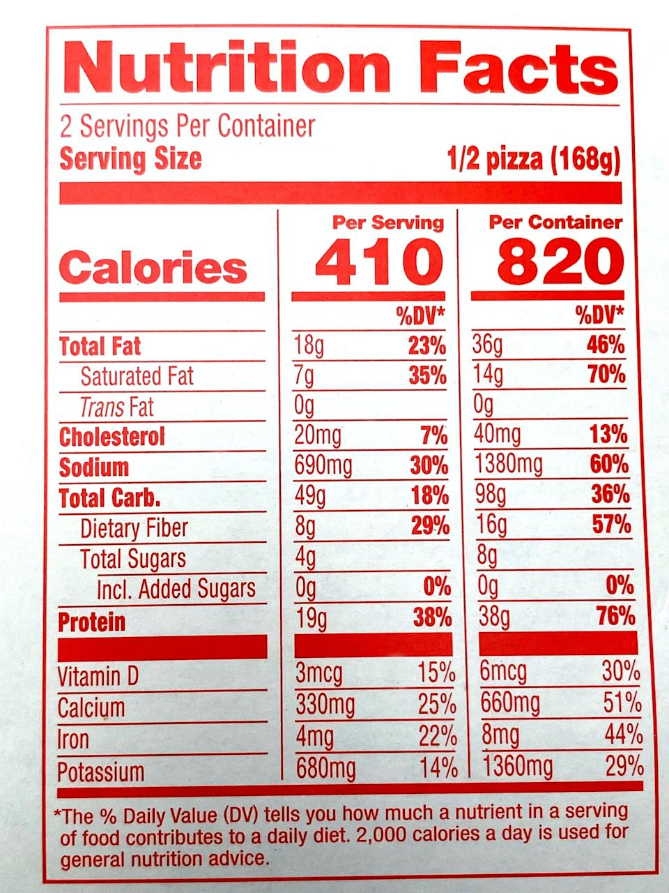 <p>If you devour half a Banza Supreme Pizza, it's 410 calories (juist like the Plant-Based Cheese), but has 18 grams, seven grams of saturated fat, 20 milligrams of cholesterol, and 690 milligrams of sodium. It offers 49 grams of carbs, eight grams of fiber, zero grams of added sugar, and has 19 grams of protein.</p>