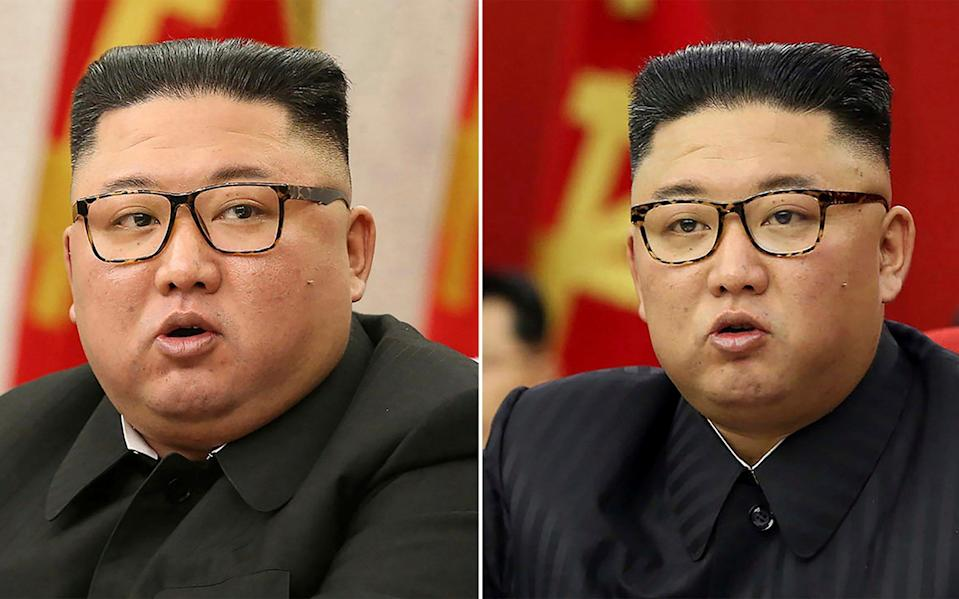 Has Kim Jong-un lost weight? Here he is pictured on in February (L) and again in June. - KCNA via KNS