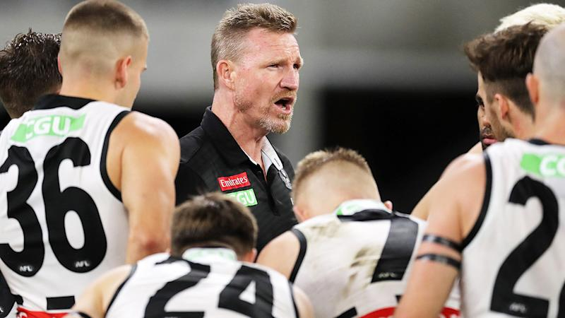Nathan Buckley, pictured here addressing his Collingwood players.