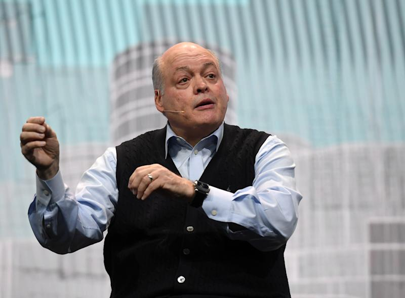 LAS VEGAS, NV - JANUARY 09: Ford Motor Co. President and CEO Jim Hackett delivers a keynote address at CES 2018 at The Venetian Las Vegas on January 9, 2018 in Las Vegas, Nevada. CES, the world's largest annual consumer technology trade show, runs through January 12 and features about 3,900 exhibitors showing off their latest products and services to more than 170,000 attendees. (Photo by Ethan Miller/Getty Images)
