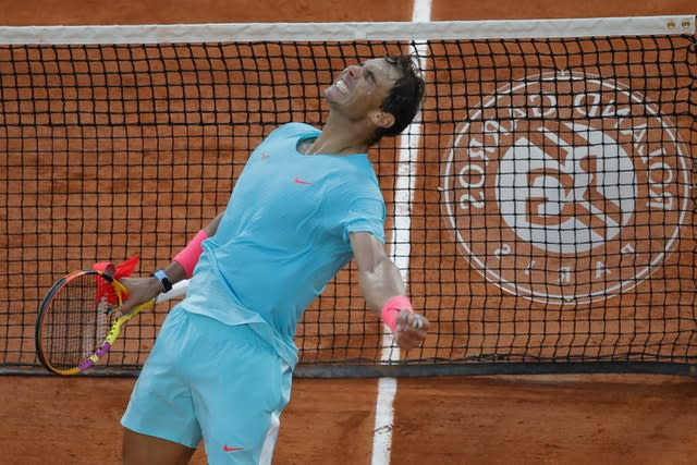 Rafael Nadal celebrates reaching another French Open final