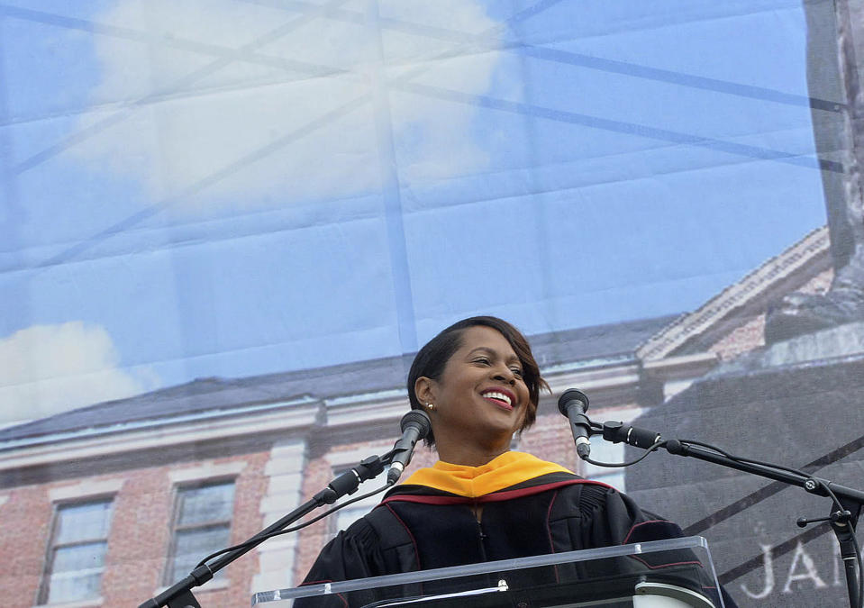 "Retired NASA astronaut Joan Higginbotham delivers her address during the North Carolina Central University commencement exercises at O'Kelly-Riddick Stadium, Saturday, May 13, 2017, in Durham, N.C. A group encouraging STEM professionals to run for public office is pushing the former astronaut to enter North Carolina's Democratic primary for an open Senate seat. Higginbotham, the third Black woman to go to space, is ""seriously, seriously"" considering entering the race and is ""doing all the things that candidates who are looking to run for office are doing,"" according to Josh Morrow, co-founder and executive director of 314 Action, who spoke with her on Tuesday, March 9, 2021 about the potential candidacy. (Bernard Thomas/The Herald-Sun via AP)"