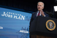 President Joe Biden speaks during an event on the American Jobs Plan in the South Court Auditorium on the White House campus, Wednesday, April 7, 2021, in Washington. (AP Photo/Evan Vucci)