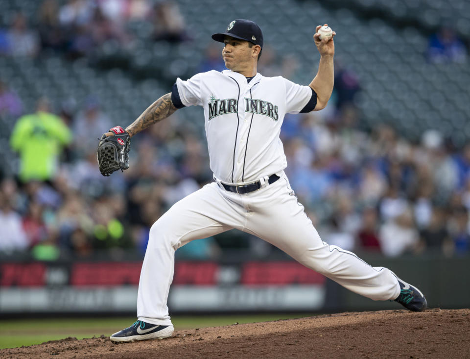Seattle Mariners reliever Tommy Milone delivers pitch during the first inning of a baseball game against the Kansas City Royals, Monday, June 17, 2019, in Seattle. (AP Photo/Stephen Brashear)