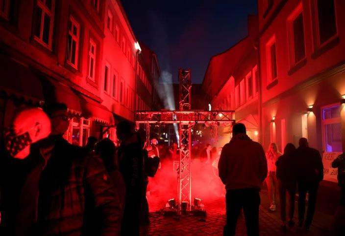 Prostitutes hold a rally in Hamburg demanding the reopening of Germany's brothels