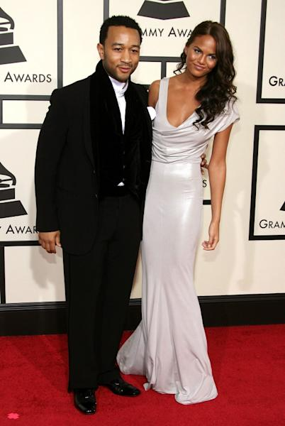 The 'Lip Sync Battle' co-host shared a snap from her first GRAMMYs red carpet with then-boyfriend, now-husband John Legend 10 years ago.