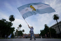 An activist against abortion flies an Argentine flag with a baby painted on it as he protests against the decriminalization of abortion, one day before lawmakers will debate its legalization, at Plaza de Mayo in Buenos Aires, Argentina, Monday, Dec. 28, 2020. (AP Photo/Victor R. Caivano)