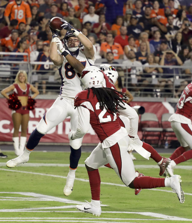 Denver Broncos tight end Matt LaCosse scores against the Arizona Cardinals during the second half of a preseason NFL football game Thursday, Aug. 30, 2018, in Glendale, Ariz. (AP Photo/Rick Scuteri)