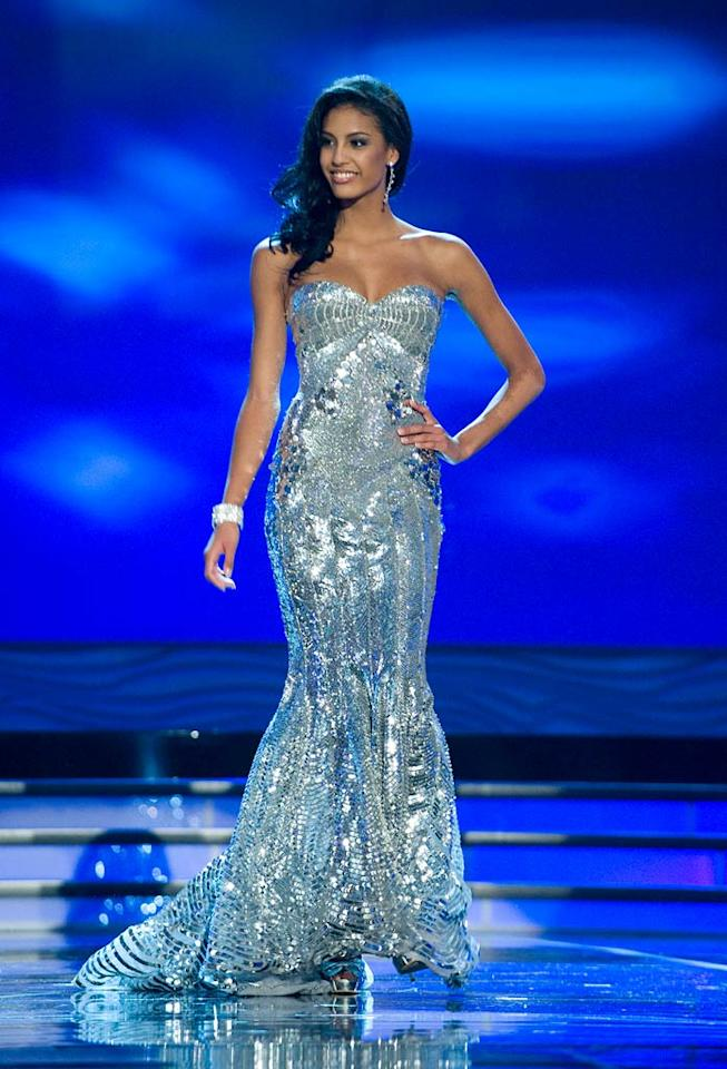 Chloe Mortaud, Miss France 2009, competes as a top 10 finalist in an evening gown of her choice during the 58th annual Miss Universe competition from Atlantis, Paradise Island, Bahamas.