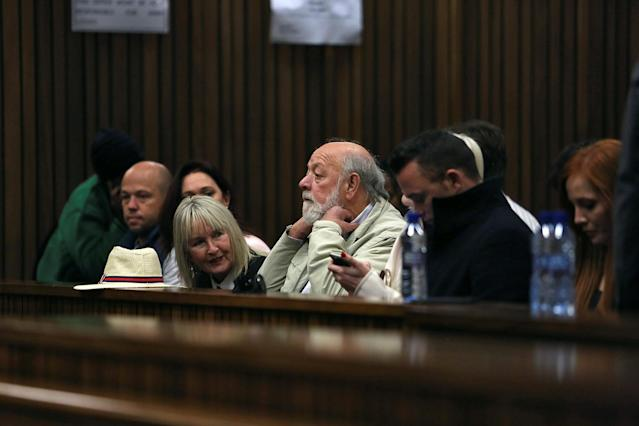 June and Barry Steenkamp are seated in court during the third day of Oscar Pistorius's resentencing hearing for the 2013 murder of his girlfriend Reeva Steenkamp, in the North Gauteng High Court in Pretoria, South Africa June 15, 2016. REUTERS/Alon Skuy/Pool