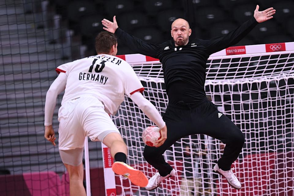 <p>France's goalkeeper Vincent Gerard prepares for a shoot during the men's preliminary round group A handball match between France and Germany of the Tokyo 2020 Olympic Games at the Yoyogi National Stadium in Tokyo on July 28, 2021. (Photo by Daniel LEAL-OLIVAS / AFP) (Photo by DANIEL LEAL-OLIVAS/AFP via Getty Images)</p>