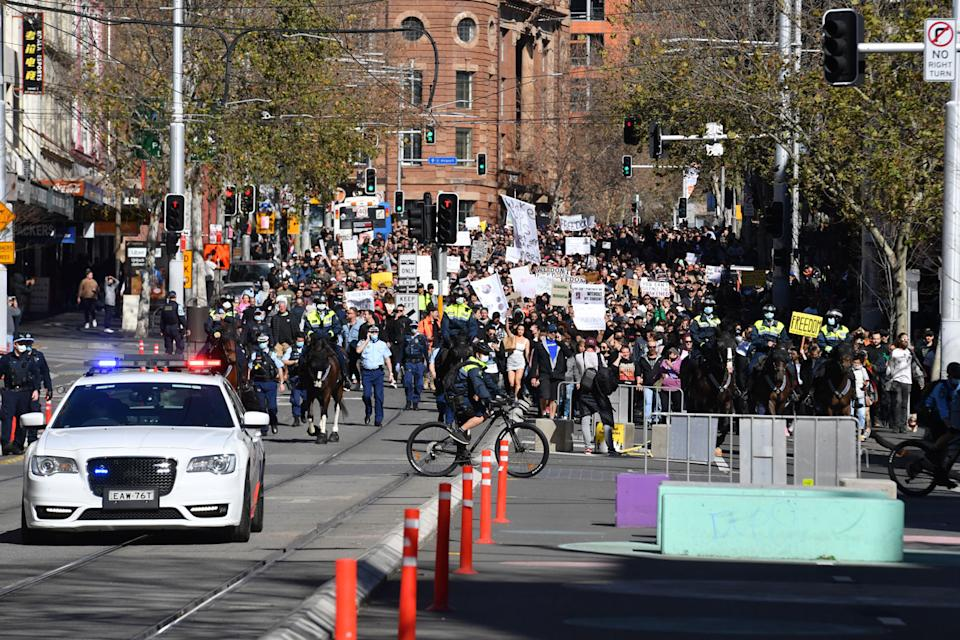 Police are investigating those who were at the rally on Saturday in Sydney's CBD. Source: AAP