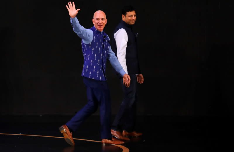 Jeff Bezos, founder of Amazon, attends a company event in New Delhi