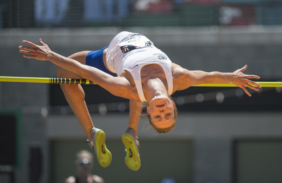 Lindsay Flach, then Lindsay Schwartz, competes in the high jump at the 2014 USA Track and Field Championships. (Photo by Christopher Morris/Corbis via Getty Images)