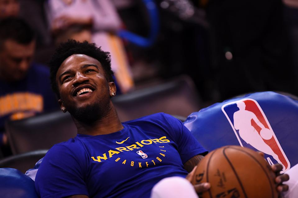 OKLAHOMA CITY, OK - MARCH 16: Jordan Bell #2 of the Golden State Warriors smiles before the game against the Oklahoma City Thunder on March 16, 2019 at Chesapeake Energy Arena in Oklahoma City, Oklahoma. NOTE TO USER: User expressly acknowledges and agrees that, by downloading and or using this photograph, User is consenting to the terms and conditions of the Getty Images License Agreement. Mandatory Copyright Notice: Copyright 2019 NBAE (Photo by Noah Graham/NBAE via Getty Images)