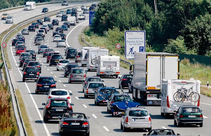 <p>Drivers are stuck in a traffic jam on highway A 1 near to Bad Oldesloe in Germany on July 24, 2016. A new report shows that greenhouse gas emissions in the European Union rose in 2015, the first increase since 2010. The European Environment Agency says emissions grew by 0.5 percent compared with 2014, mainly due to increase from transportation and a colder winter. The report released Thursday, June 1, 2017 comes as the EU is trying to emphasize its commitment to combating climate change. (Markus Scholz/dpa via AP) </p>